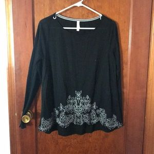 Black long sleeve T-shirt with floral